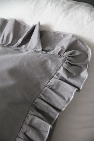 Sarah GraceピローケースLenaライトグレー コットン43x63cm