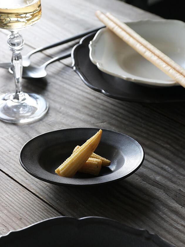 Awabi ware楕円小皿マットブラック