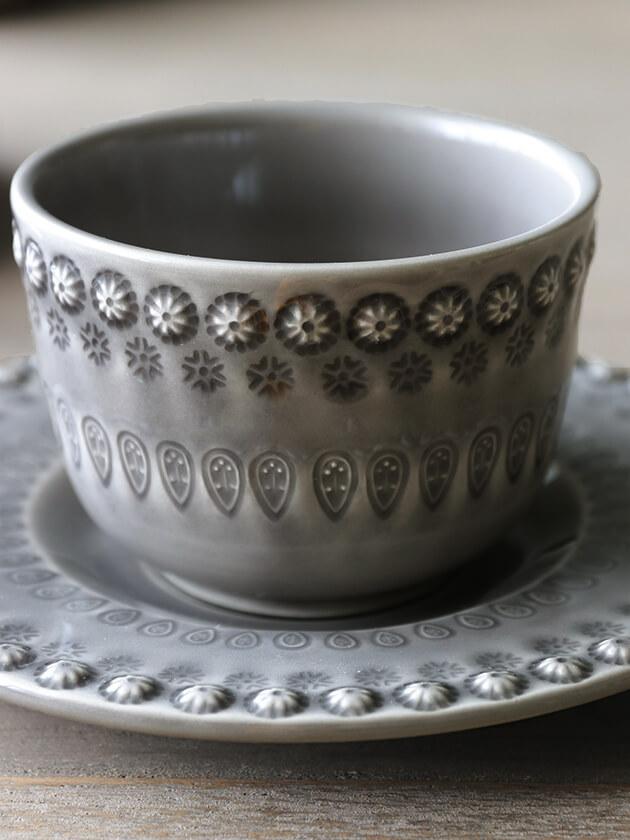 PotteryJoカップ&ソーサーDAISYグレー