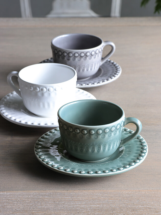 PotteryJoカップ&ソーサーDAISYダスティグリーン