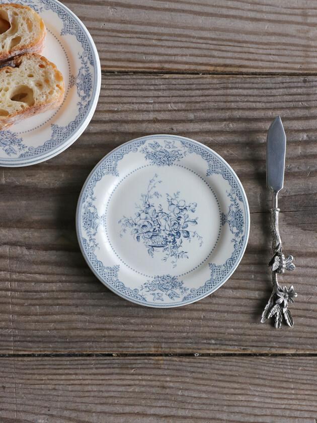 Gienパン皿Fleurs Depareillees Bleu