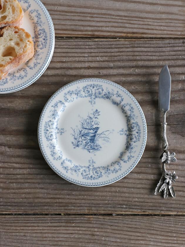 Gienパン皿Oiseau Depareillees Bleu