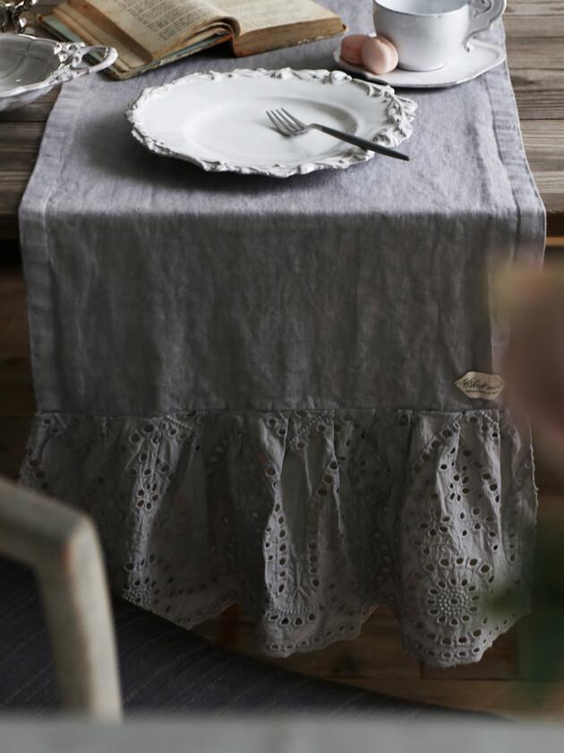 Chez moiテーブルランナーPizzo Sangalloライトグレー40x140cm