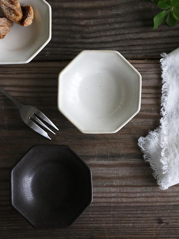 Awabi ware八角豆皿マットブラック