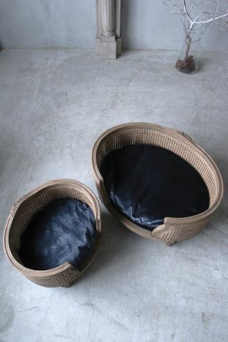 ペットベッドGeorge ケーン編み ブルーベルベット(クッションフラット)