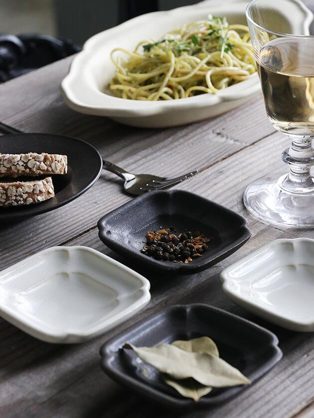 Awabi ware四方豆皿マットブラック