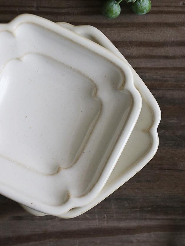 Awabi ware四方豆皿白磁