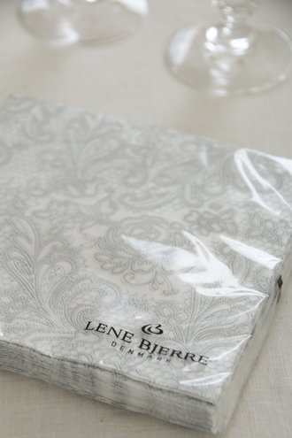 Lene BjerreペーパーナプキンUni Laceホワイト×グレー 33x33cm