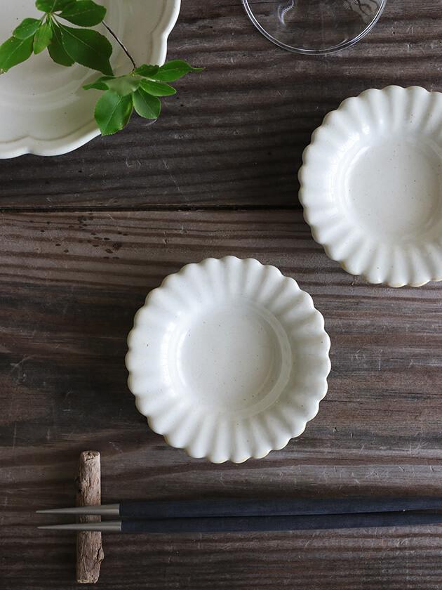 Awabi wareひまわり豆皿白磁
