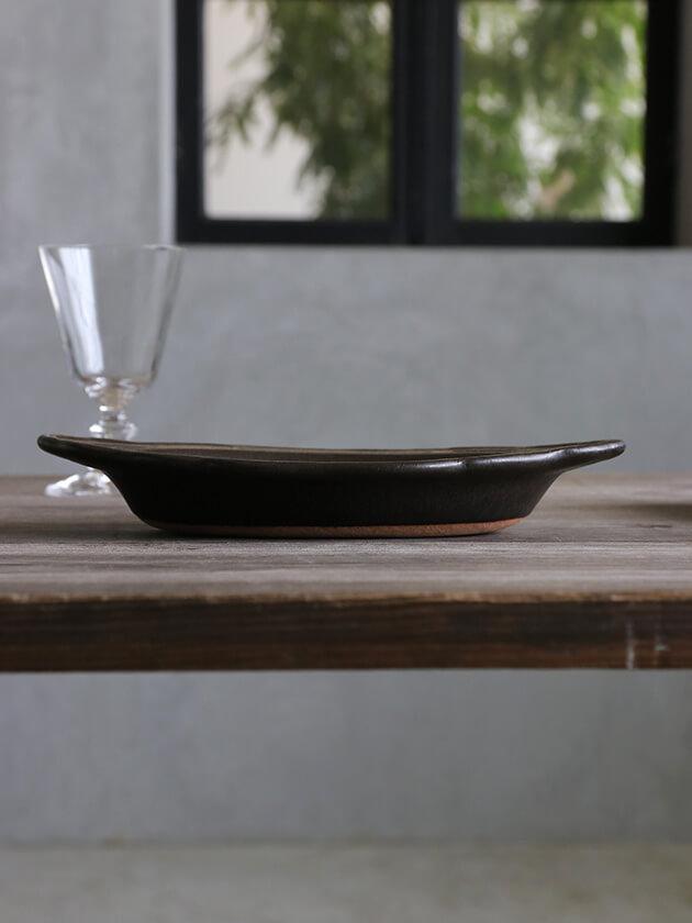 Awabi ware耐熱グラタン皿Mマットブラック