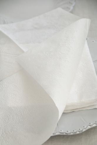 Lene BjerreペーパーナプキンUni Laceパールホワイト33x33cm