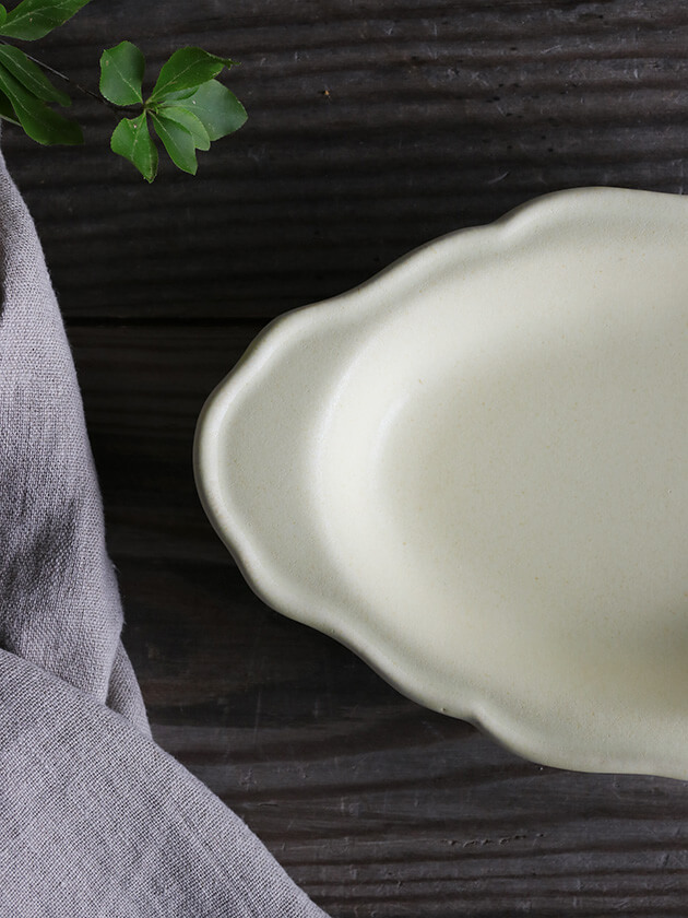Awabi ware耐熱グラタン皿Mアイボリー