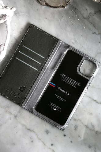iPhone11Pro Maxケース Persianレザーダイヤリーシルバー