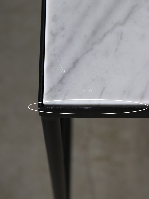 【配送地域限定】sofa domeアイアンライティングデスクトップホワイトマーブル