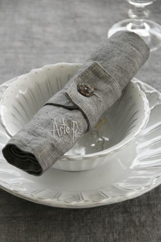 Arte Puraチャームナプキンリング6個セットダークグレー