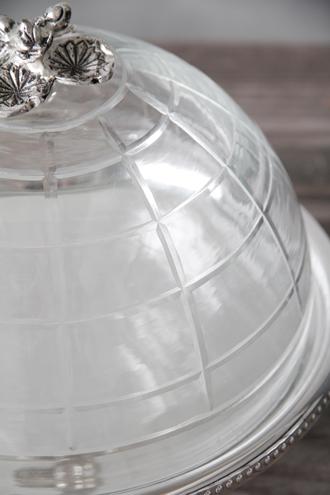 Royal Familyガラスドーム付きシルバーケーキスタンド23.5cm