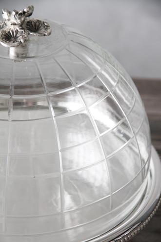 Royal Familyガラスドーム付きシルバーケーキスタンド28cm