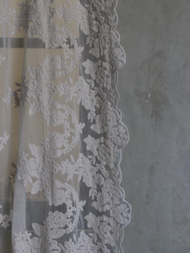 Chez moiカーテンVersaillesライトグレー135x220cm
