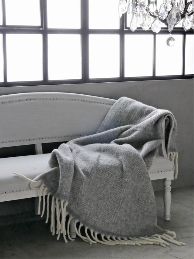 Cozy LivingスローMatheaライトグレーxホワイト