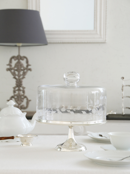 Royal Familyシルバーガラスドーム付きケーキスタンド