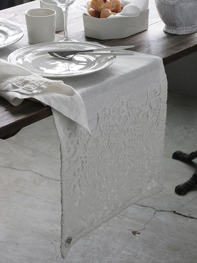 Chez moiランナーVeneziaオフホワイト40x140cm