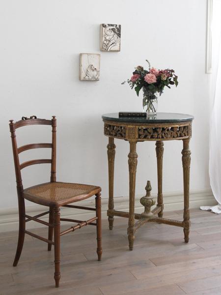 Gustavian Antiqueサイドテーブル マーブルトップ 1850年頃