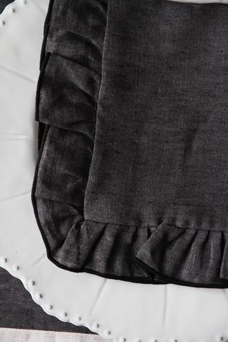 Sarah Graceフレンチリネンナプキンフリル ダークグレー40x40cm