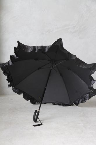 Kiwanda傘エステルタフタフリル ブラック