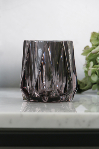 Lene BjerreガラスティーライトキャンドルホルダーAmineスモークグレーM