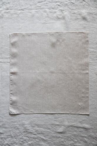 Sarah Graceフレンチリネンナプキンモノグラム ナチュラル40x40cm
