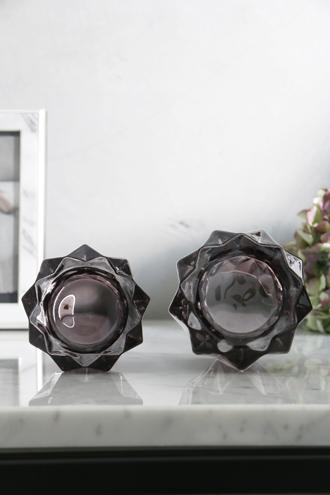 Lene BjerreガラスティーライトキャンドルホルダーAmineスモークグレーS