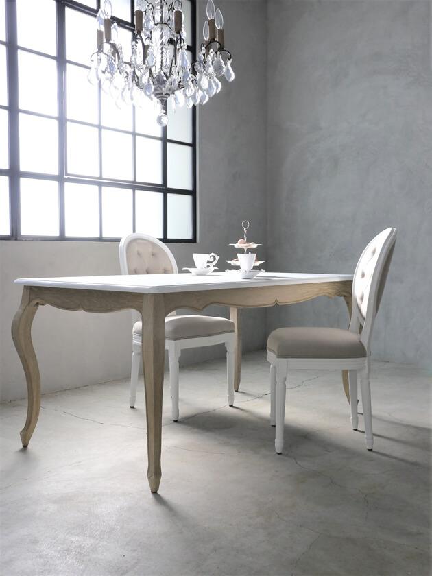 SGDダイニングテーブルElegance160cmナチュラルA TOPホワイト