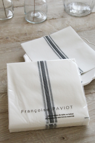 Francoise PAVIOTペーパーナプキンTORCHON GREY 40x40cm