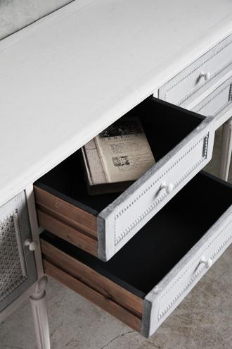 BlancNatureサイドボード アンティークホワイト&ブルーグレー