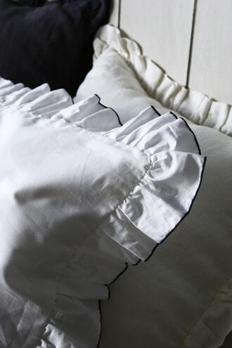 Sarah GraceピローケースLenaホワイトxグレートリム コットン43x63cm