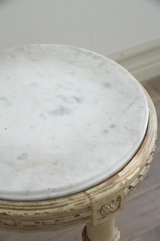 フレンチアンティーク ラウンドテーブルLouis XVI ホワイトマーブルTop No5