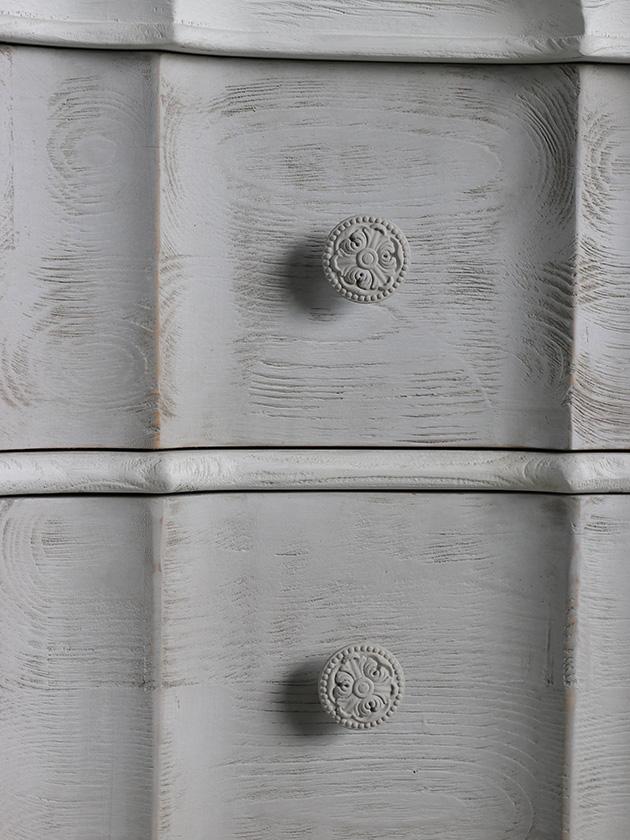 BlancNatureベッドサイドチェストPatriciaホワイト&グレー
