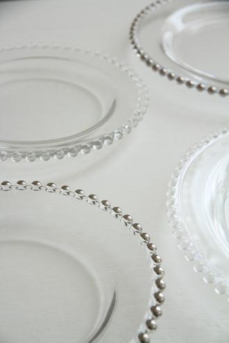 PERLE PLATINUMガラスデザートプレート20.5cm