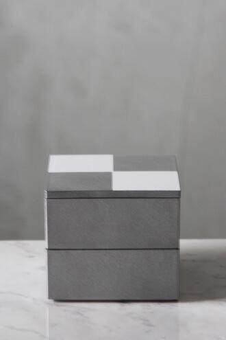 重箱6.5寸二段中子重 市松 シルバー