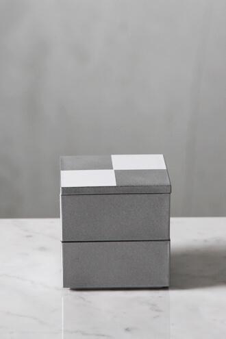 重箱5寸二段中子重 市松 シルバー