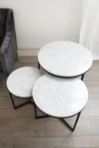 【配送地域限定】sofa domeアイアンサイドテーブルトップホワイトマーブル