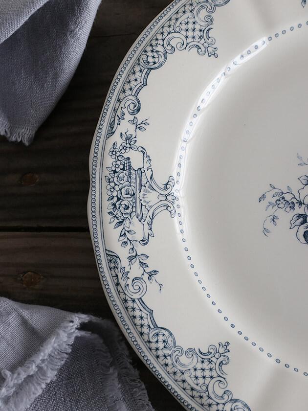 GienディナープレートFleurs Depareillees Bleu