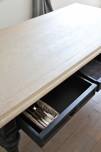 ClassicダイニングテーブルTiffany180cmラフナチュラルLegブラック