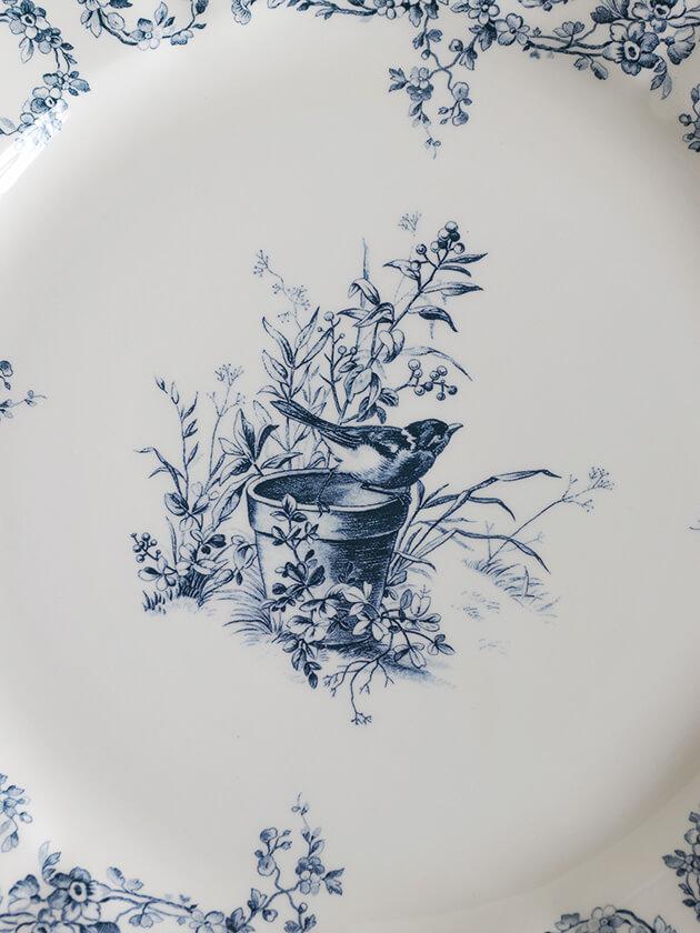 GienディナープレートOiseau Depareillees Bleu