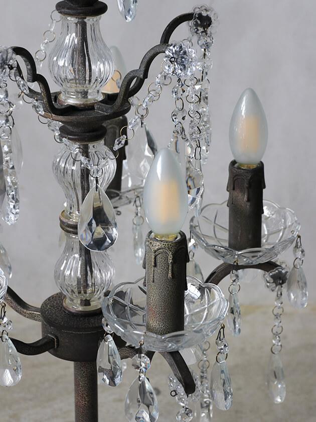 SGDシャンデリアランプLinda5灯シャビーグレー