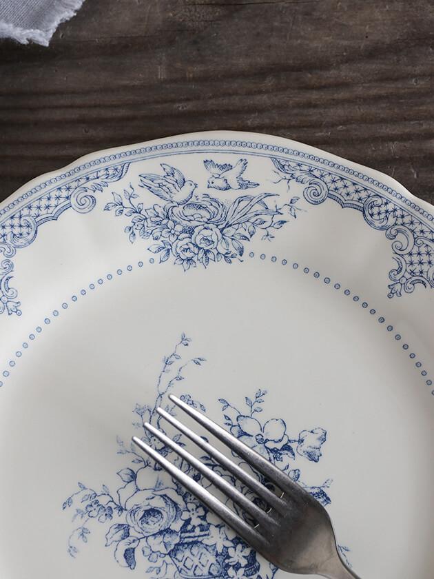 GienデザートプレートFleurs Depareillees Bleu