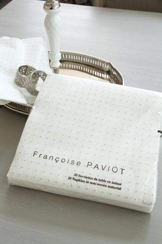Francoise PAVIOTペーパーナプキンESPACE SILVER/WHITE 40x40cm
