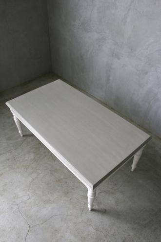 BLANC D'IVOIREコーヒーテーブルQUENTINアンティークホワイトTOPマスティック115cm