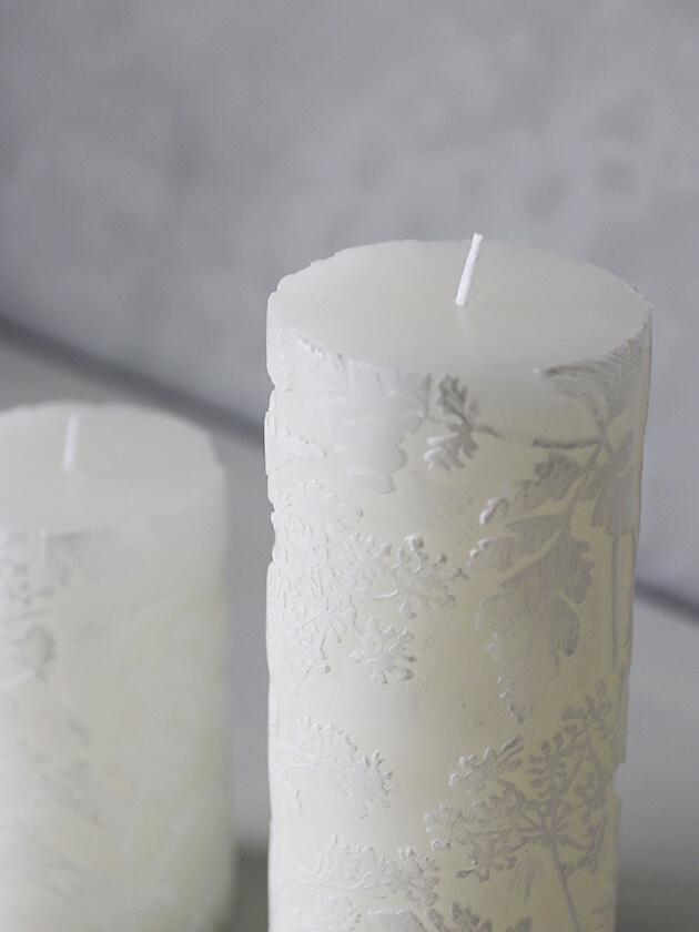 Lene BjerreピラーキャンドルFlorieホワイト