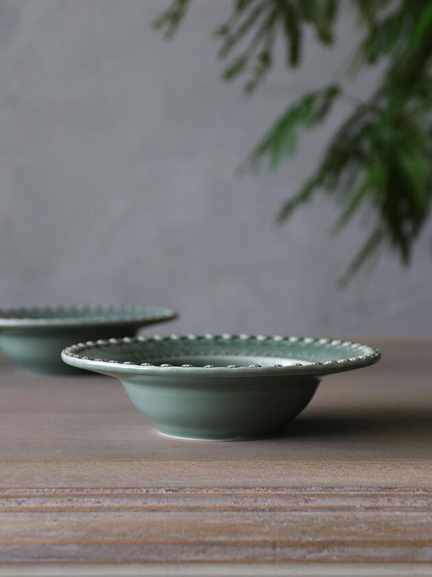 PotteryJoスープ・パスタプレートDAISYダスティグリーン21cm